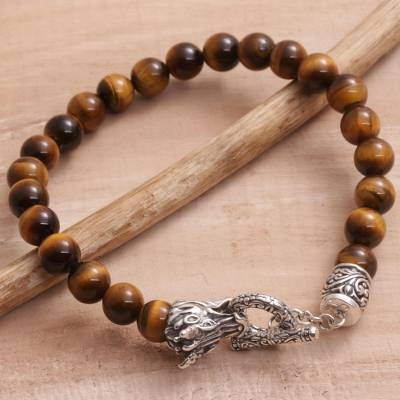 Men's tiger's eye beaded bracelet, 'Dragon Glory' - Tiger's Eye and 925 Silver Beaded Dragon Bracelet from Bali