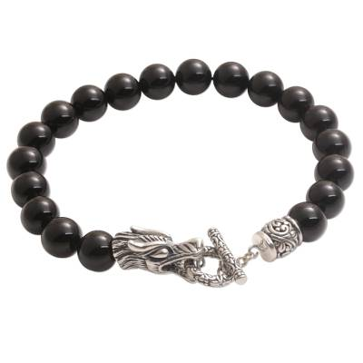 Onyx and Sterling Silver Beaded Dragon Bracelet from Bali