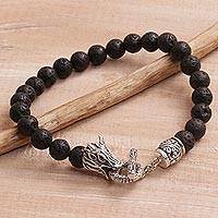 Men's lava stone beaded bracelet, 'Dragon Glory' - Lava Stone and 925 Silver Beaded Dragon Bracelet from Bali