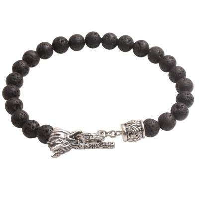 Lava Stone and 925 Silver Beaded Dragon Bracelet from Bali