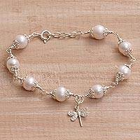Cultured pearl charm bracelet, 'Moonlight Dragonfly' - Cultured Pearl and Sterling Silver Dragonfly Charm Bracelet