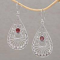 Garnet dangle earrings, 'Divine Tears' - Garnet and Sterling Silver Dangle Earrings from Bali