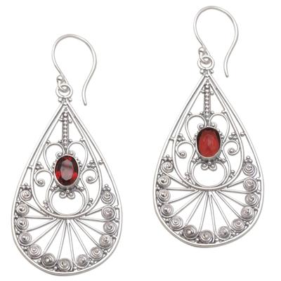 Garnet dangle earrings, 'Divine Tears' - Garnet and Sterling Silver Dangle Earrings from Bali