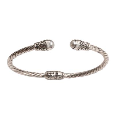 Cultured pearl cuff bracelet, 'Spiral Temple' - Cultured Pearl and Sterling Silver Cuff Bracelet from Bali