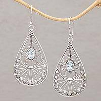 Blue topaz dangle earrings, 'Divine Tears' - Blue Topaz and Sterling Silver Dangle Earrings from Bali