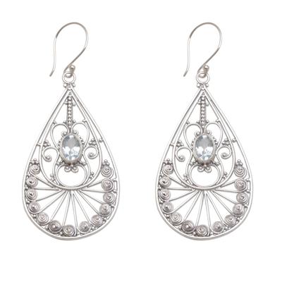 Blue topaz dangle earrings, 'Divine Tears' - Blue Topaz and Sterling Silver Dangle Earrings from Bali