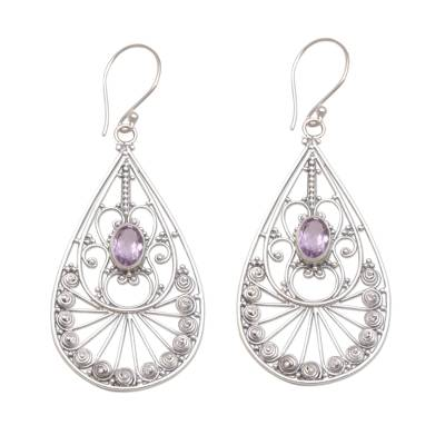 Amethyst and Sterling Silver Dangle Earrings from Bali