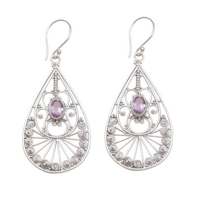 Amethyst dangle earrings, 'Divine Tears' - Amethyst and Sterling Silver Dangle Earrings from Bali