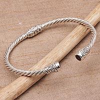 Garnet cuff bracelet, 'Spiral Temple' - Garnet and Sterling Silver Cuff Bracelet from Bali