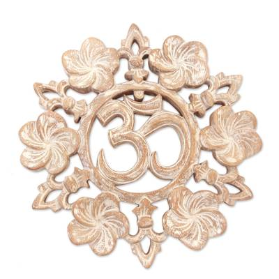Wood relief panel, 'Universal Jepun' - Handcrafted Suar Wood Floral Om Relief Panel from Bali