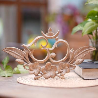 Wood relief panel, 'Verdant Om' - Handcrafted Suar Wood Floral Leafy Om Relief Panel from Bali