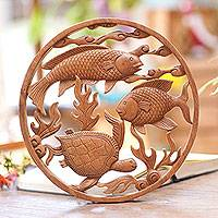 Wood relief panel, 'Ocean Haven' - Handmade Wood Relief Panel with Fish and Turtle from Bali