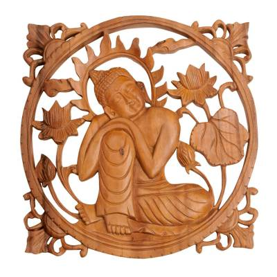 Handcrafted Suar Wood Buddha Relief Panel from Bali