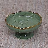 Ceramic catchall,  Frangipani in Green' - Handcrafted Ceramic Floral Catchall in Green from Bali