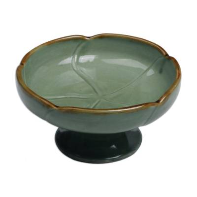 Handcrafted Ceramic Floral Catchall in Green from Bali