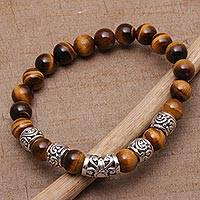 Men's tiger's eye beaded stretch bracelet, 'Earthen Temple' - Men's Tiger's Eye Beaded Stretch Bracelet from Bali
