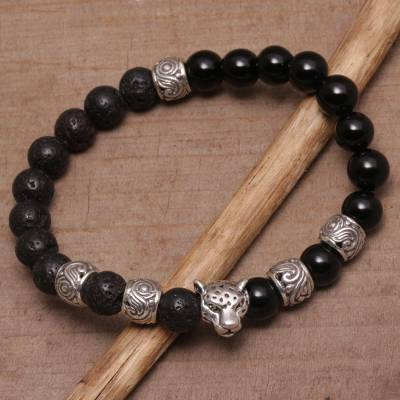 Onyx and lava stone beaded stretch bracelet, 'Leopard Strength' - Onyx Leopard Beaded Stretch Bracelet from Bali