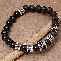 Onyx and lava stone beaded stretch bracelet, 'Batuan Renaissance' - Onyx and Lava Stone Beaded Stretch Bracelet from Bali