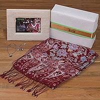 Handcrafted photo frame, silk shawl and cultured pearl jewelry, 'Kiva Lotus Flowers Gift Set'