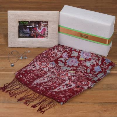 Handcrafted photo frame, silk shawl and cultured pearl jewelry, 'Kiva Lotus Flowers Gift Set' - Bali handcrafted pearl jewelry and silk batik shawl gift set