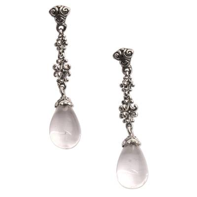 Quartz dangle earrings, 'Majestic Serenade' - Clear Quartz and Sterling Silver Dangle Earrings from Bali
