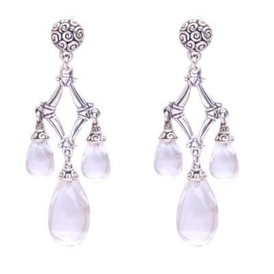 Quartz chandelier earrings, 'Crystal Drops' - Clear Quartz and 925 Silver Chandelier Earrings from Bali