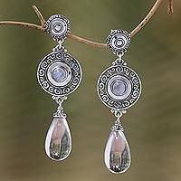 Quartz and rainbow moonstone dangle earrings, 'Byzantine Shield' - Quartz and Rainbow Moonstone Dangle Earrings from Bali