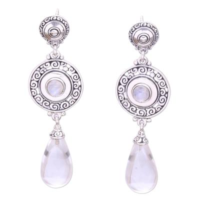 Quartz and rainbow moonstone dangle earrings, 'Byzantine Shield' - Quartz and Rainbow Moonstone Dangle Earrings from Bali