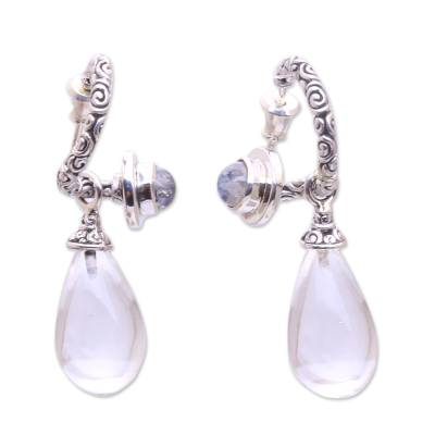 Quartz and rainbow moonstone dangle earrings, 'Temple Hoops' - Quartz and Rainbow Moonstone Dangle Earrings from Bali