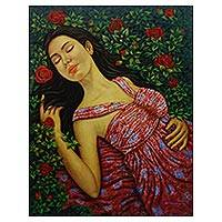 'Rose Garden Beauty' - Signed Realist Painting of a Sleeping Woman from Bali