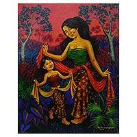 'Learning the Serimpi Dance' - Signed Realist Painting of a Mother and Daughter from Bali