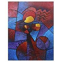 'Pretty Woman' - Signed Cubist Painting of a Woman from Bali