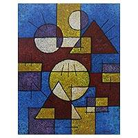 'Differences in Harmony' - Signed Geometric Abstract Painting from Bali