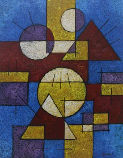 Signed Geometric Abstract Painting From Bali Differences In Harmony