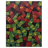 'Path to Nowhere (Red and Green)' - Signed Abstract Painting in Red and Green from Bali