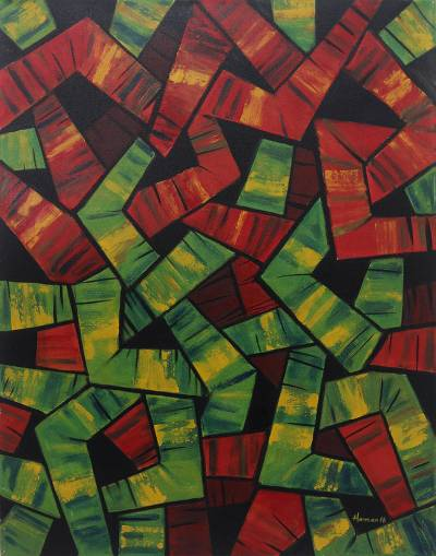 Signed Abstract Painting In Red And Green From Bali Path To Nowhere Red And