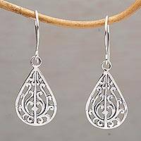 Sterling silver dangle earrings, 'Gunungan Vines' - Sterling Silver Drop-Shaped Dangle Earrings from Bali