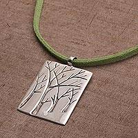Sterling silver pendant necklace, 'Forest Vision' - Handmade Sterling Silver Necklace with Trees from Bali