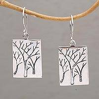 Sterling silver dangle earrings, 'Forest Vision' - Handmade Sterling Silver Pendant Forest Earrings from Bali