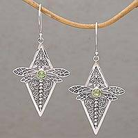 Peridot dangle earrings, Dragonfly Diamonds
