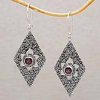 Garnet dangle earrings, 'Daisy Spirals' - Garnet and Sterling Silver Floral Dangle Earrings from Bali