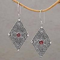 Garnet dangle earrings, 'Goddess Diamonds' - Garnet and 925 Silver Spiral Motif Dangle Earrings from Bali