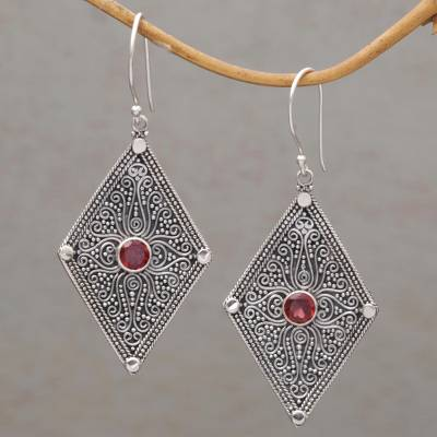 Garnet dangle earrings, Goddess Diamonds