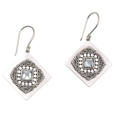 Blue Topaz and 925 Sterling Silver Dangle Earrings from Bali
