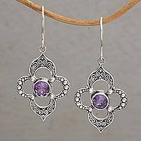 Amethyst dangle earrings, 'Aurora Petals' - Amethyst Petal Motif Dangle Earrings from Bali