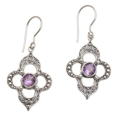 Handcrafted Amethyst Birthstone Dangle Earrings by Novica