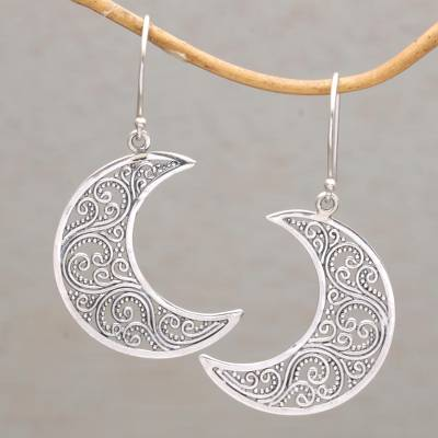 Sterling silver dangle earrings, 'Crescent Vines' - Sterling Silver Crescent-Shaped Dangle Earrings from Bali