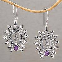 Amethyst dangle earrings, 'Peacock Majesty' - Amethyst and 925 Silver Peacock Dangle Earrings from Bali