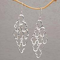 Sterling silver dangle earrings, 'Spanish Moss' - 925 Sterling Silver Wavy Dangle Earrings from Bali