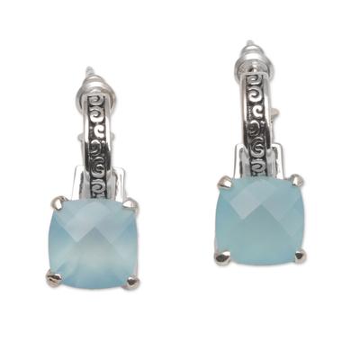 Chalcedony dangle earrings, 'Buddha Hoops' - Blue Chalcedony and 925 Silver Dangle Earrings from Bali
